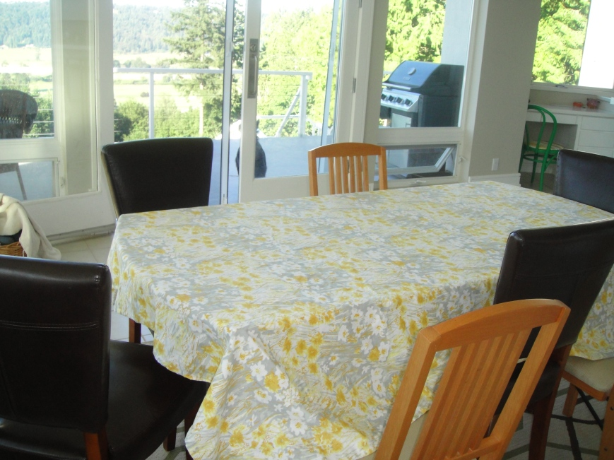 Yellow and Gray Tablecloth