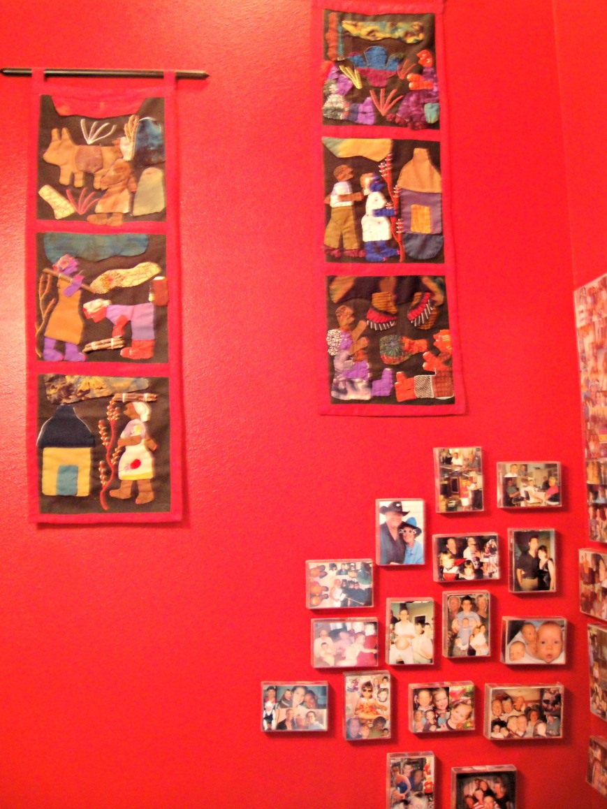 Photos and vibrant wall hangins