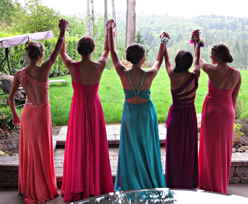 Prom Girls Hands Up
