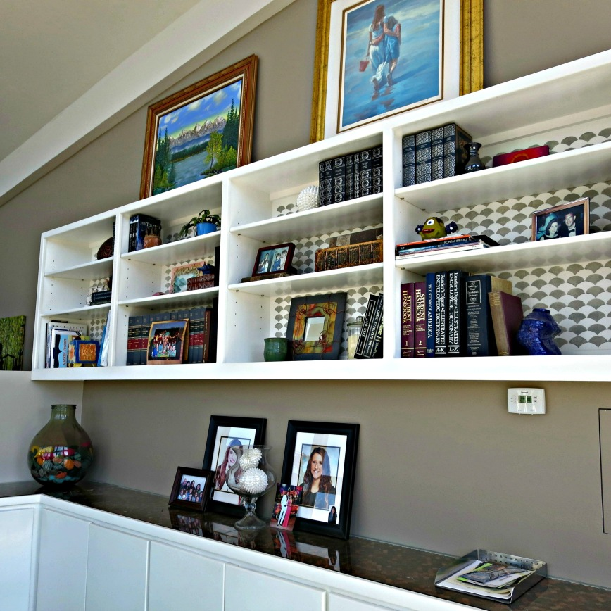 Bookcase filled from the side
