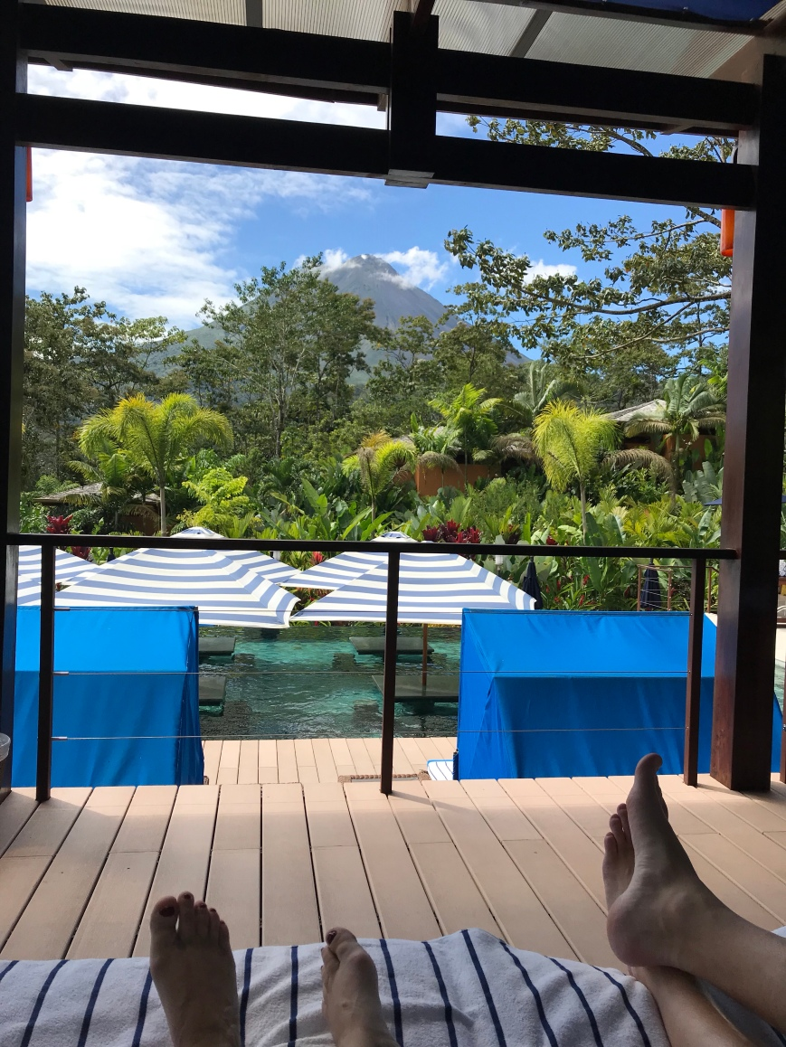 This is Mount Arenal viewed from a pool at Nayara Springs Resort near La Fortuna, CR.
